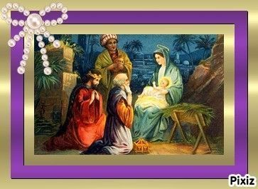 Visite des Tois Rois Mages à Jesus
